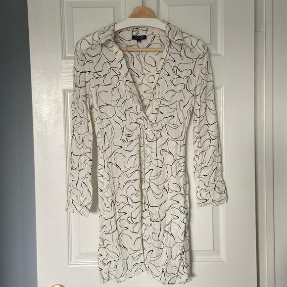 Topshop white and black shirt dress